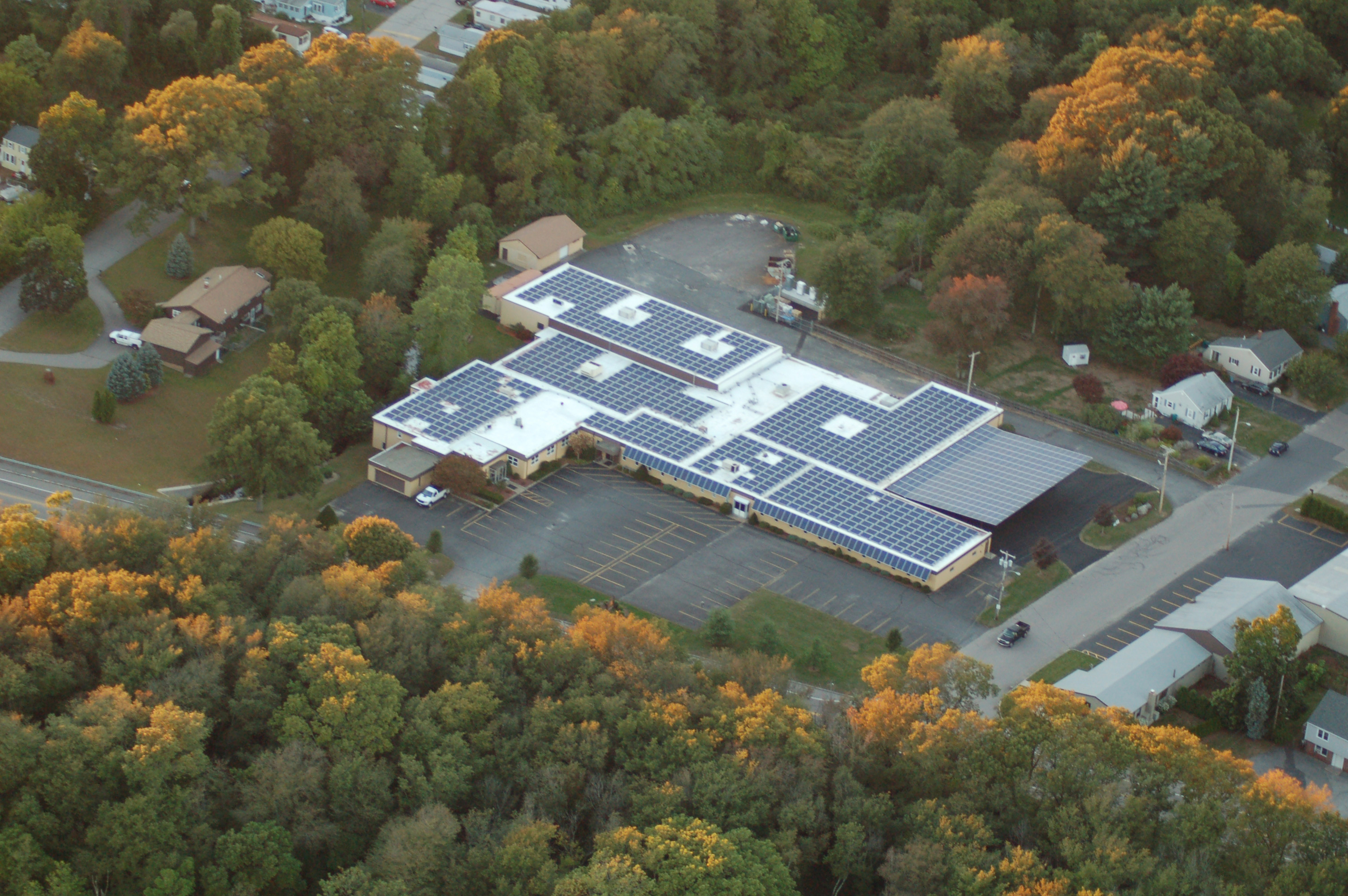 Aerial view of commercial solar panels