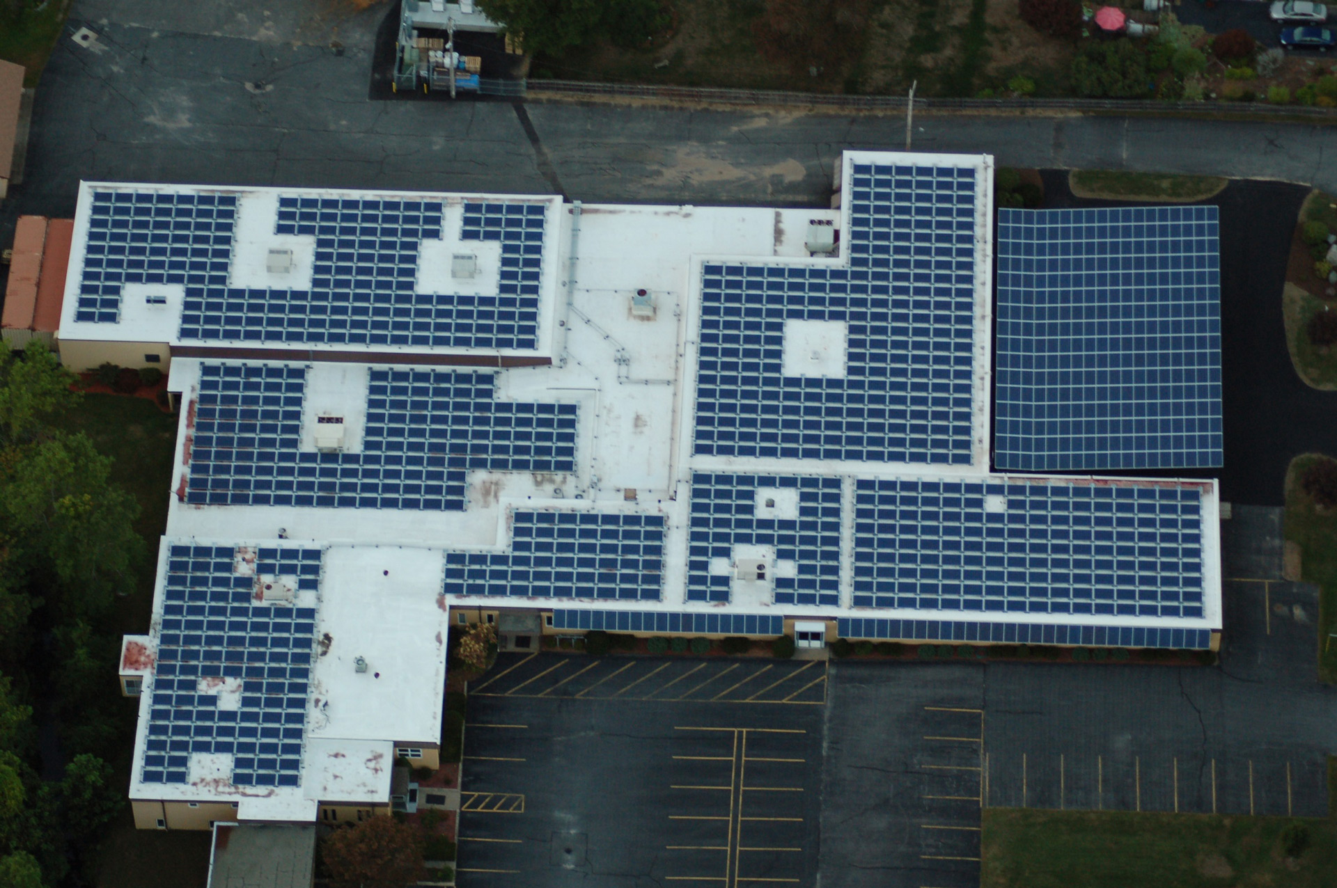 Solar panels on top of a commercial property