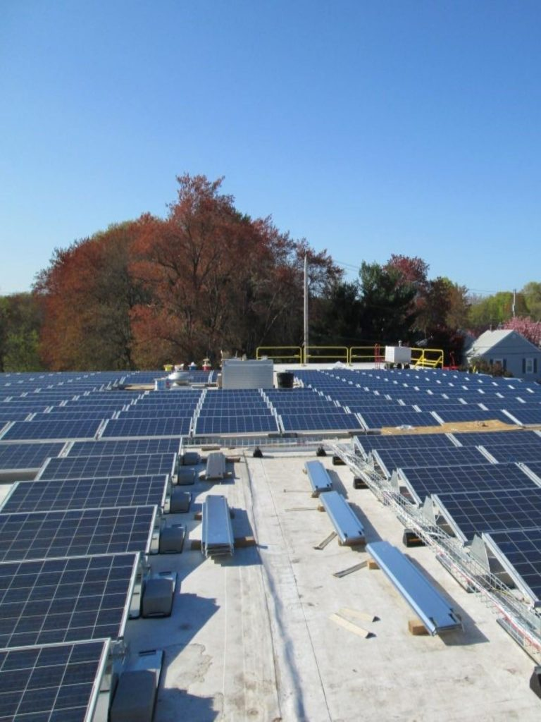 Commercial rooftop solar array in Attleboro, MA